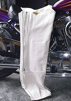 Zone Tailed Denim - Denim Motorcycle Chaps - White Denim